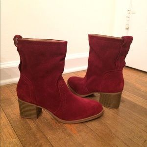 Shoes - Red Booties - faux suede